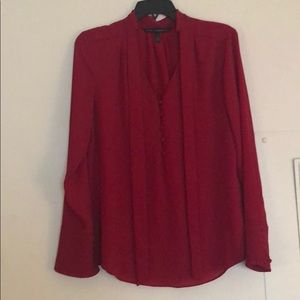 Red WHBM Blouse with Fabric Buttons